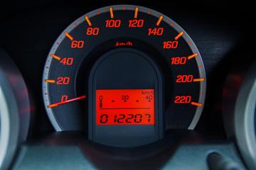 Modern Car Speedometer and Illuminated Dashboard