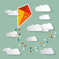 Vector Paper Kite on Sky with Clouds