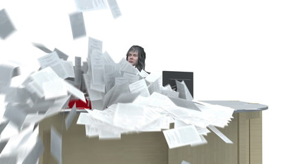 Business Woman sis at desk and is deluged with paperwork