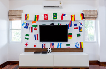 Modern room with TV and Flags for soccer championship 2014