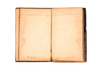 Open old book on white background