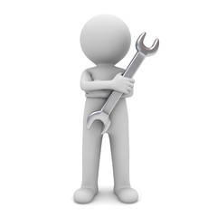 3d man standing arms crossed and holding wrench for maintenance