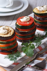 Baked vegetables lined tower closeup.