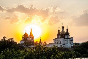 Sunset against Holy Trinity Monastery. Tyumen