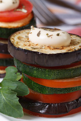 sliced ​​baked eggplant, zucchini and tomatoes vertical