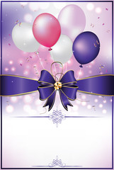Celebration background with ribbon and balloons  for print