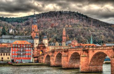 View of Heidelberg with Alte Brucke, Baden-Württemberg, Germany