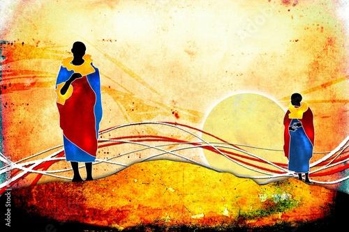 Fotobehang Afrikaanse Motieven african motive ethnic retro vintage