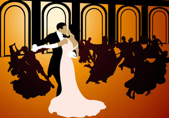 Silhouettes of couples dancing the waltz.