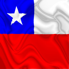 Chile Waving Silk Flag