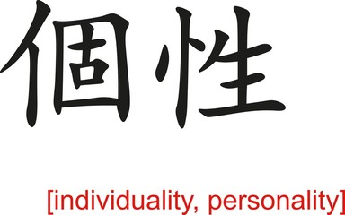 Chinese Sign for individuality, personality