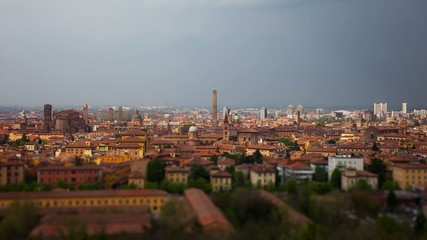 View of the City of bologna from the hills after a storm.