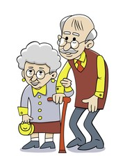 Happy grandparents. Vector illustration