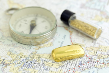 Antique Compass, Prospecting Map, And Gold