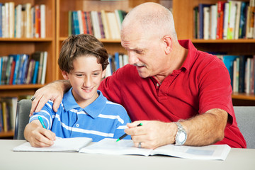 Library - Student and Father