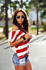 Young stylish woman outdoor portrait