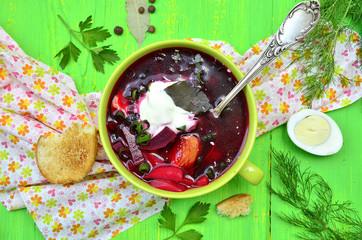 Borscht,traditional russian and ukrainian beetroot soup.