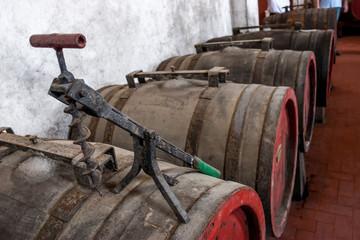 Botti  di vino in una cantina vinicola