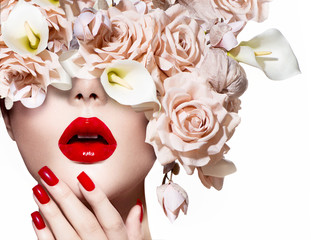 Vogue style model girl face with roses. Red Sexy Lips and Nails.