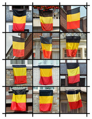 Collage of Houses put out the flag of Belgium
