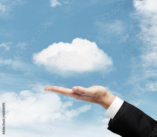 canvas print picture hand with cloud