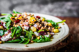 Fototapety Healthy salad with spinach,quinoa and roasted vegetables
