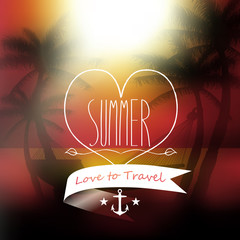 Vector love to travel summer message