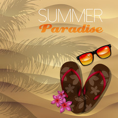 Vector summer illustration with flip flop and sunglasses