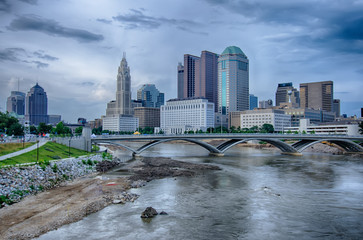 Columbus, Ohio skyline reflected in the Scioto River. Columbus i