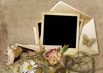 Vintage background with envelope and beautiful flowers