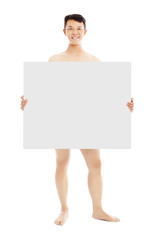 young sexy man holding a empty white board