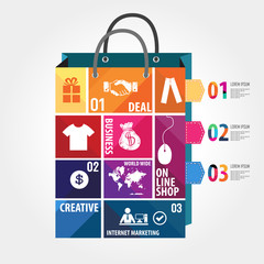 E-commerce infographic Template with bag