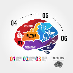 abstract human brain  infographic business