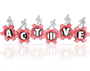 Active Word Gears People Exercising Physical Activity Fitness
