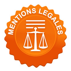 mentions légales sur bouton web denté orange