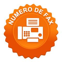numéro de fax sur bouton web denté orange