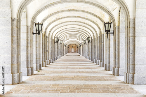 Covered corridor in Valley of the Fallen (Valle de los Caidos),