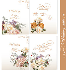 Collection of wedding backgrounds with flowers