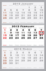 2015 february with red dating mark