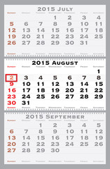 2015 august with red dating mark