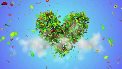 Love leaves particles Loop Animation