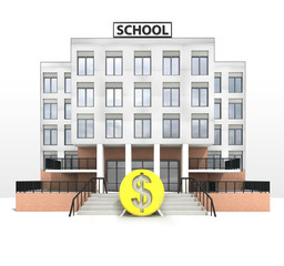 dollar currency in front of modern school building