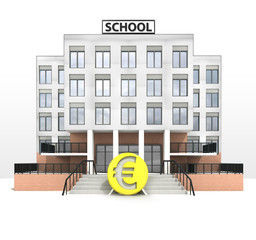 euro currency in front of modern school building