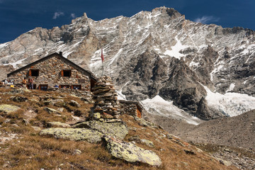 mountain hut in Swiss Alps