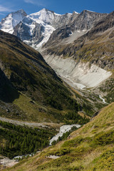 aerial view of glacial valley in Swiss Alps