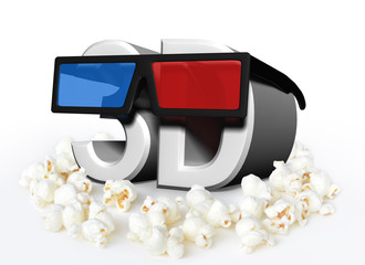 Cinema and movies concept with 3D glasses and popcorn