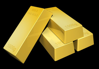 Shiny gold ingot bars rendered in 3D on a dark background