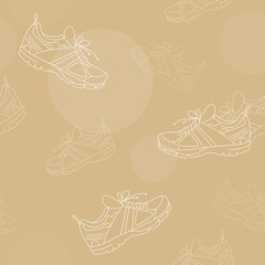 Sneakers on Beige Background Seamless Texture