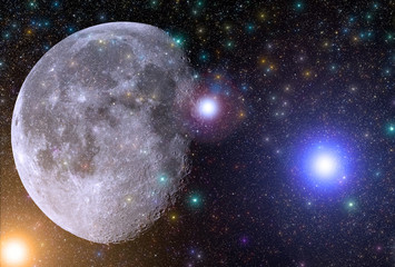 Colorful universe with bright stars and Moon.