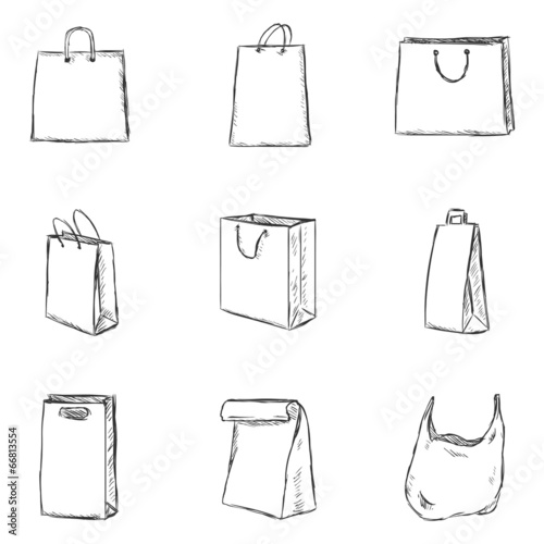 Vector Set of Sketch Shopping Bags Icons - 66813554